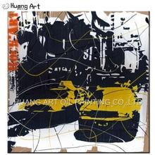 Pintados À mão Abstrata Moderna Da Cidade de Rua Paisagem Pintura A Óleo sobre Tela de Pintura para Sala de estar Decoração Da Parede Da Arte do Carro Amarelo