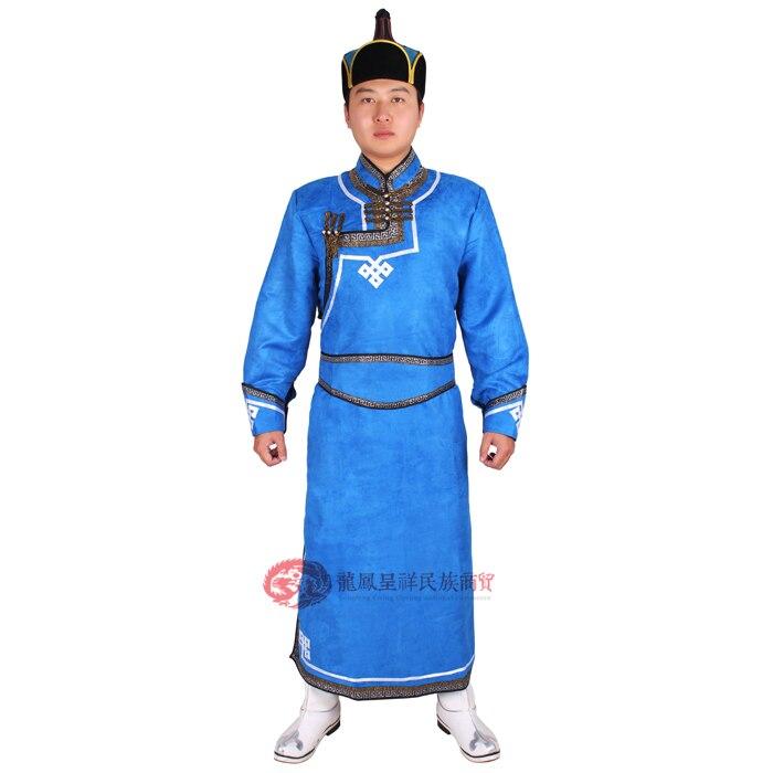 Lelaki Mongolia pakaian rubah mongolia deerskin pakaian bulu biru - Pakaian kebangsaan - Foto 6