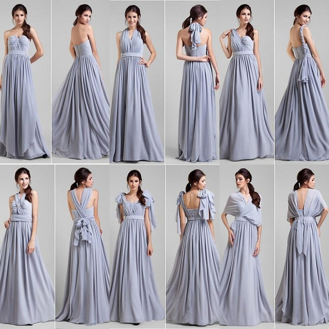 2014 Stunning Lavander A Line Chiffon Long Convertible Bridesmaid Dresses  Cap Sleeves Party Dress Fashion Prom Gowns e9b68036488d