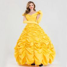 Free shipping Belle Princess Dress beauty and beast Belle role play cosplay costume photo ball party evening yellow long dress queene and belle свитер