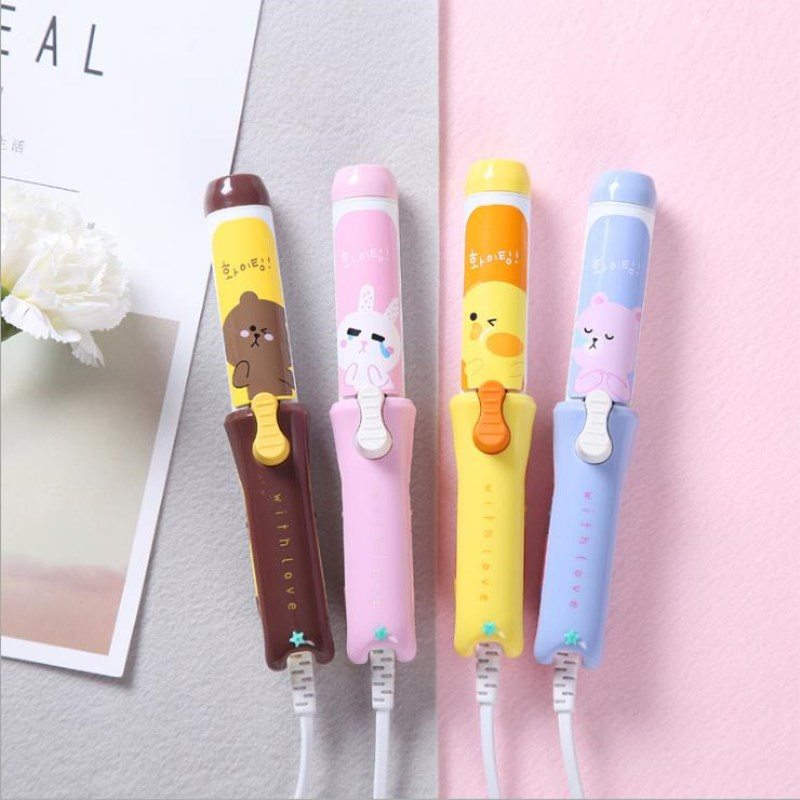 New Arrival Mini Hair Curler Portable Hair Curling Irons Travel Small Curlers Cute Hair Curling Iron Cartoon Hair Styling Tools 2017 new arrival raccoon hair curling