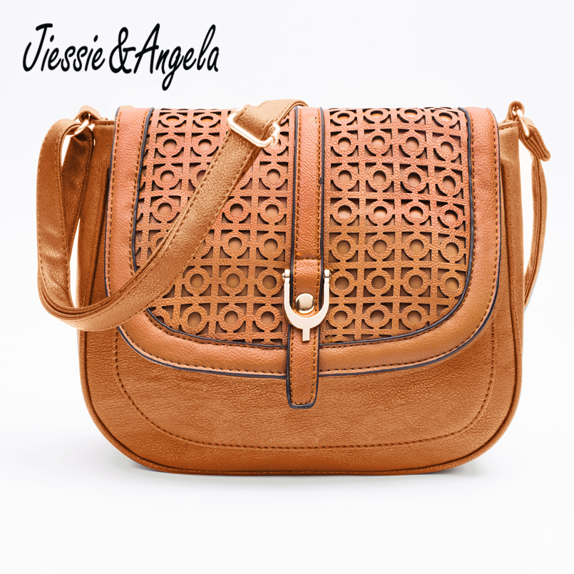 Jiessie & Angela Hot Sale Kvinnor Messenger Bag Läder Handväska Bolsas femininas Vintages Hollow Out Cross Body Shoulder Bag