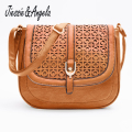 Jiessie & Angela Hot Sale Women Messenger Bag Leather Handbag bolsas femininas Vintages Hollow Out Cross Body Shoulder Bag