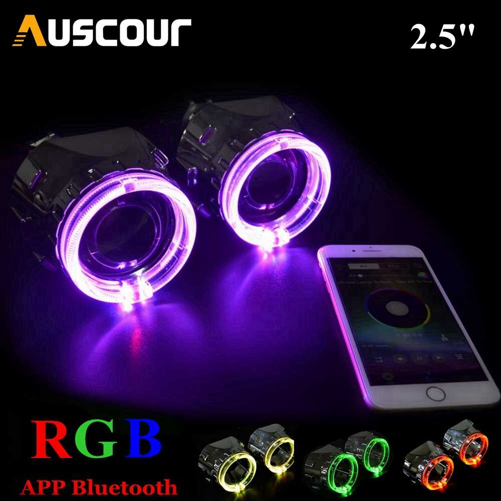 2pcs hid Bixenon projector lens led angel eyes shrouds kit Bluetooth APP Control RGB LED Angel Eyes Color-changing mask Modify