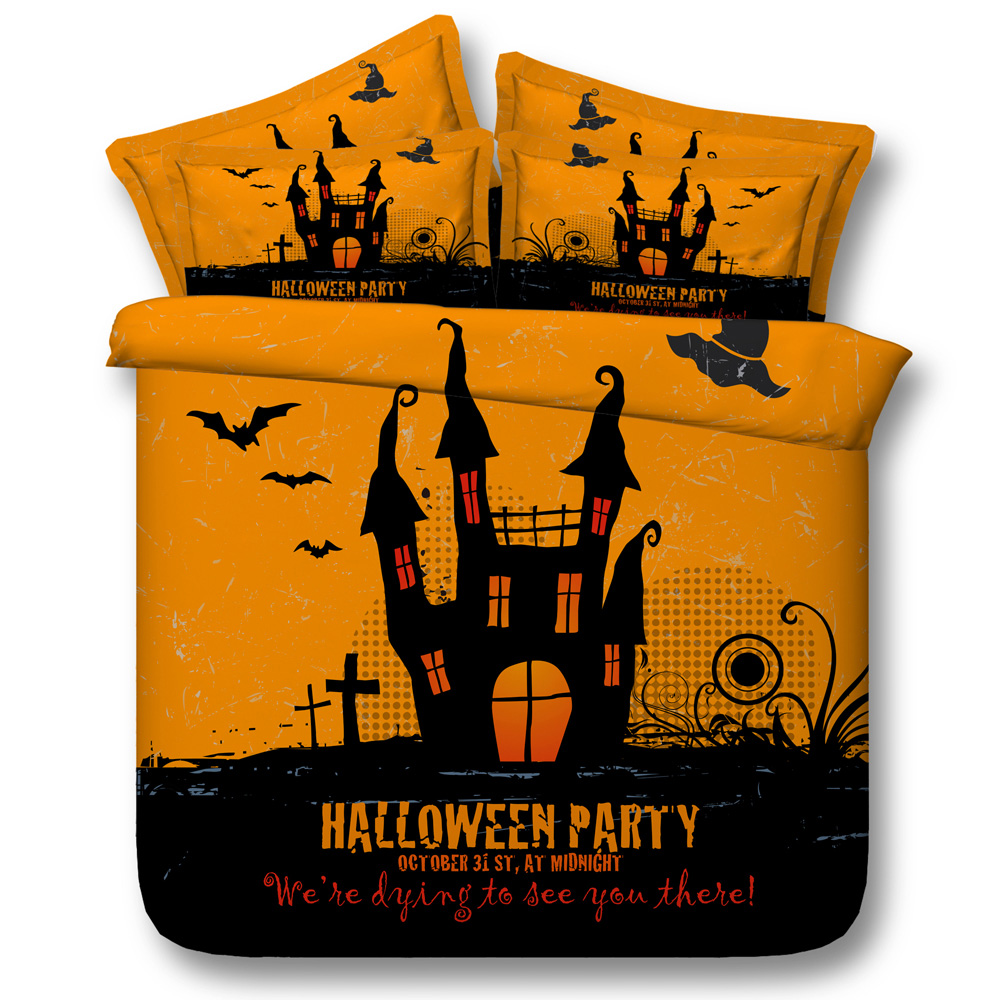 halloween bed linens gift bats 3d print duvet comforter cover queen twin soft bedding sets 3/4pc full king sizes 500tc children