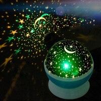 LAIMAIK Romantic Rotating Spin Night Light Projector Children Kids Baby Sleep Lighting Sky Star Moon USB