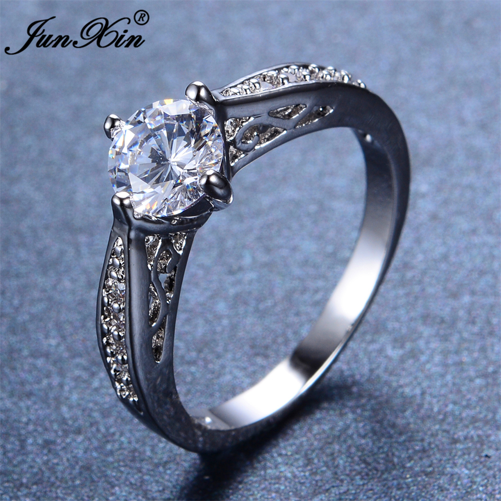 JUNXIN Fashion Blue & Pink Round Ring White Gold Filled