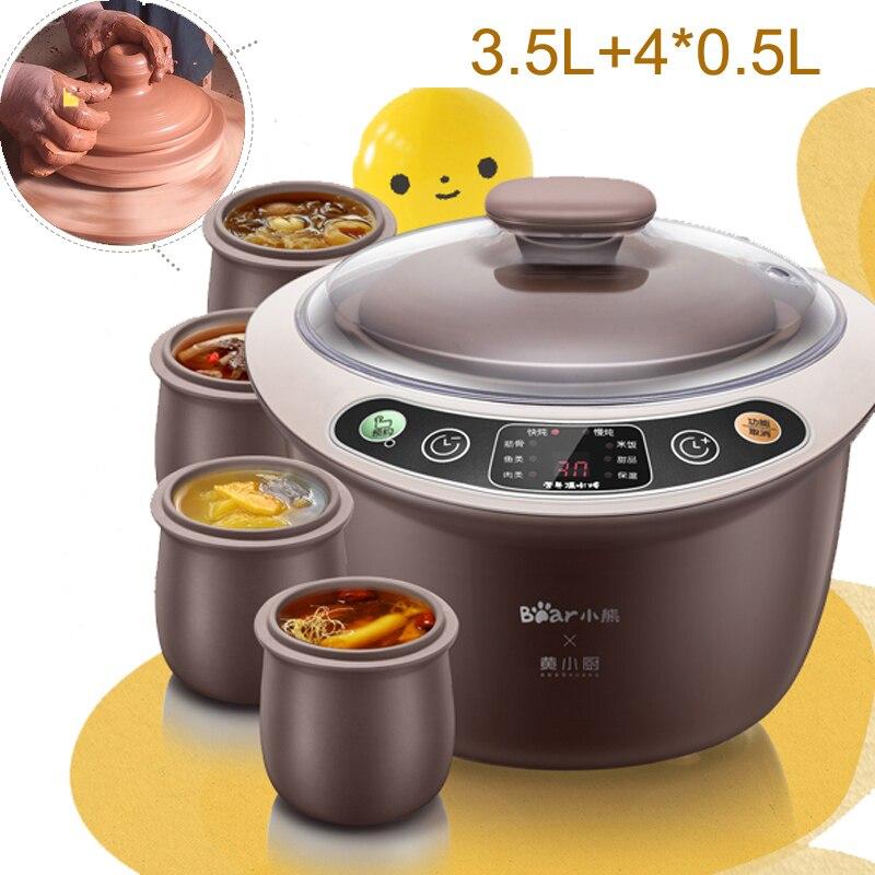 15%ja7 Electric Stew Pot 500w 3.5l Full Automatic Electric Slow Cooker Smart Reservation Porridge Pot Anti-dry Electric Cooker
