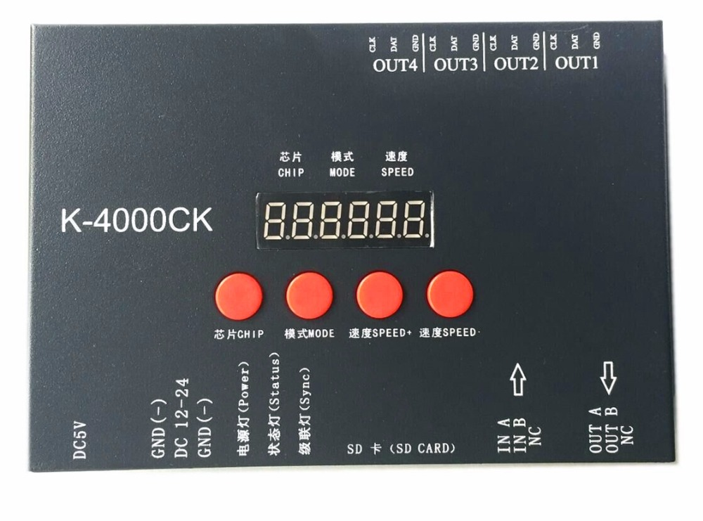 K-4000CK (Upgraded version of T-4000),SD card LED pixel controller;off-line;SPI signal output:1024pixes*4ports=4096pixels indian version of k abc
