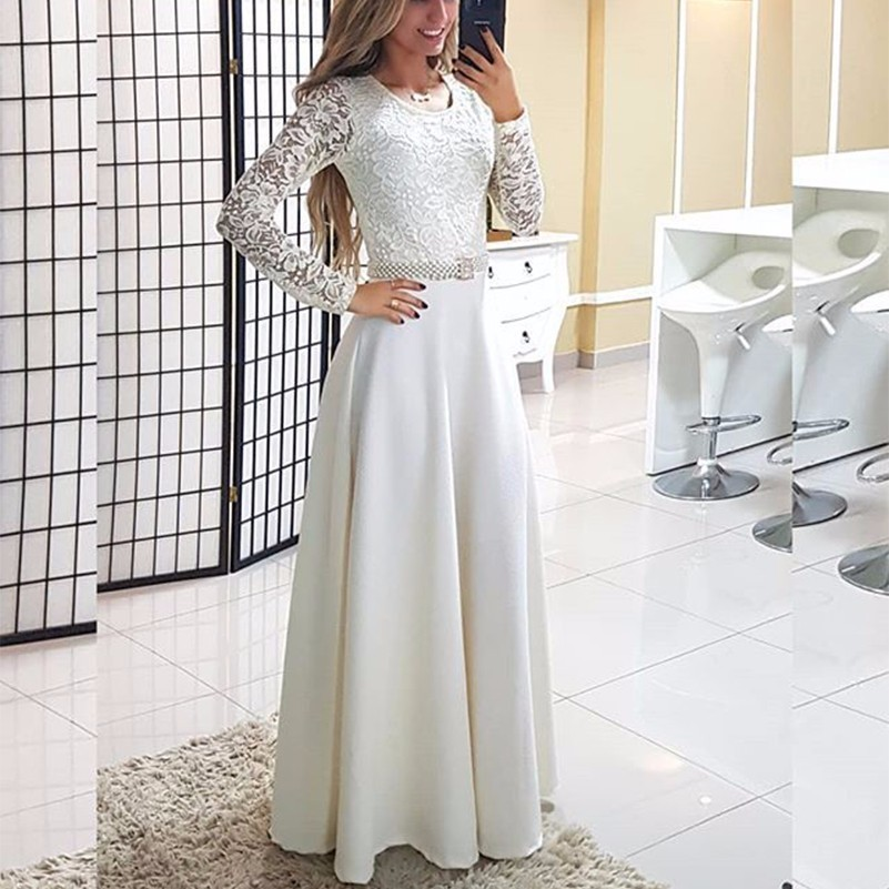 34bed5a793d3 MUXU vestido de encaje blanco vestidos sexy kleider moda mujer ropa fiesta  patchwork ropa de mujer de manga larga traje de mujer vestido largo