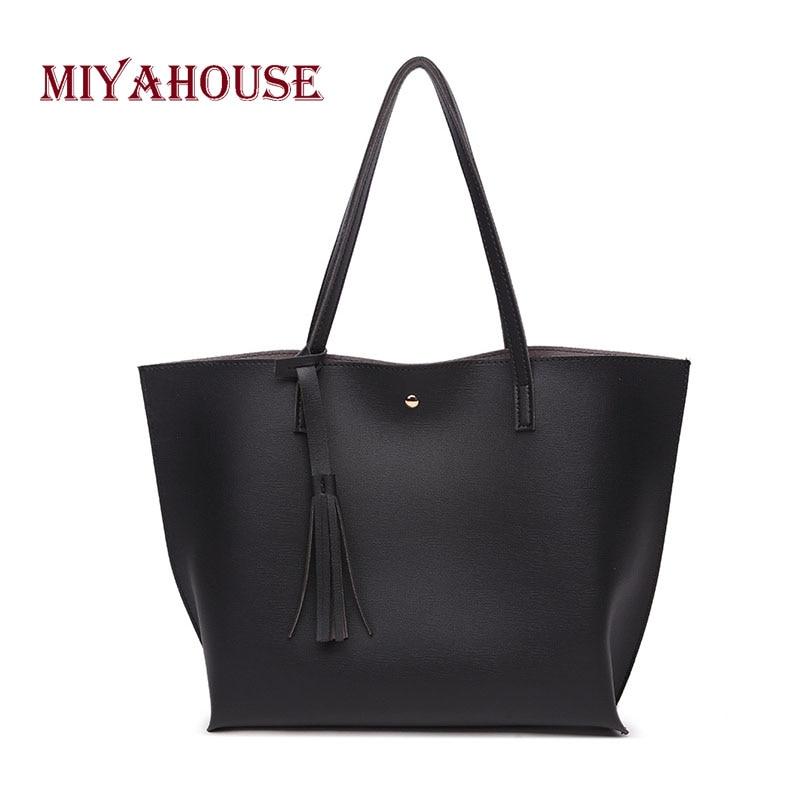 Miyahouse Large Capacity Shoulder Bag For Female Korean Style Fashion  Handbag For Women Tassel Design PU Leather ... 7f949af41dd7b