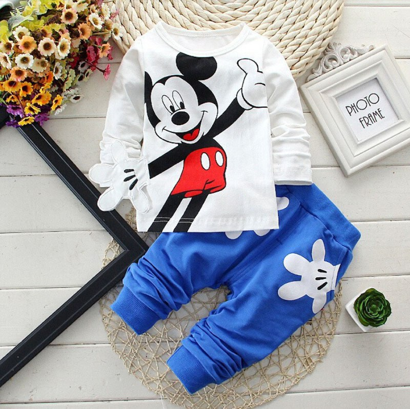 Baby Boys Clothes 2017 Våren Autumn Cartoon Fritid Langermet T-skjorter + Bukser Nyfødte Baby Girl Clothes Kids Bebes Suits