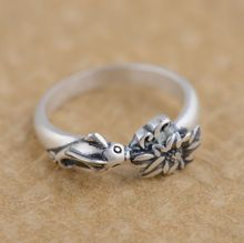 S990 fine silver ring antique matte process beautifully unique jewelry gift goldfish