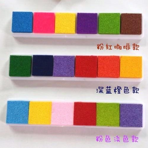 6colors Long Colorful  Inkpad Craft Oil Based Diy Ink Pads For Rubber Stamps Fabric Scrapbook Fingerprint Kids Art Supply