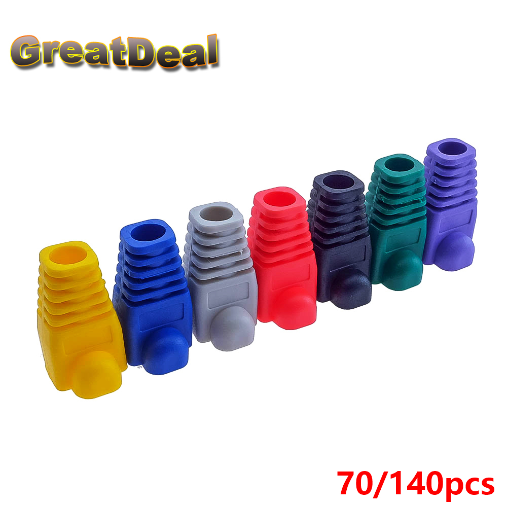 70 / 140pcs Colorful RJ45 Cap Connector Cat5 Cat5e RJ45 Plug Caps Ethernet ქსელის კაბელი Strain Relief Boot RJ45 Boots HY202