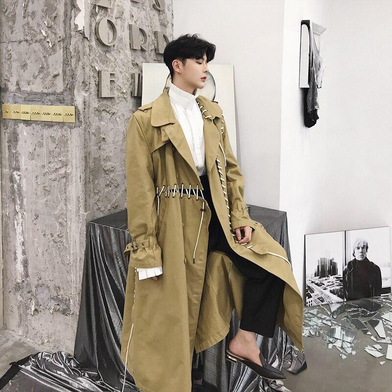 Mâle Gothique Punk Lâche Manteau Hommes décontracté Trench Ruban Épissé Long Cardigan Veste Coupe-Vent Harajuku Vêtements D'extérieur