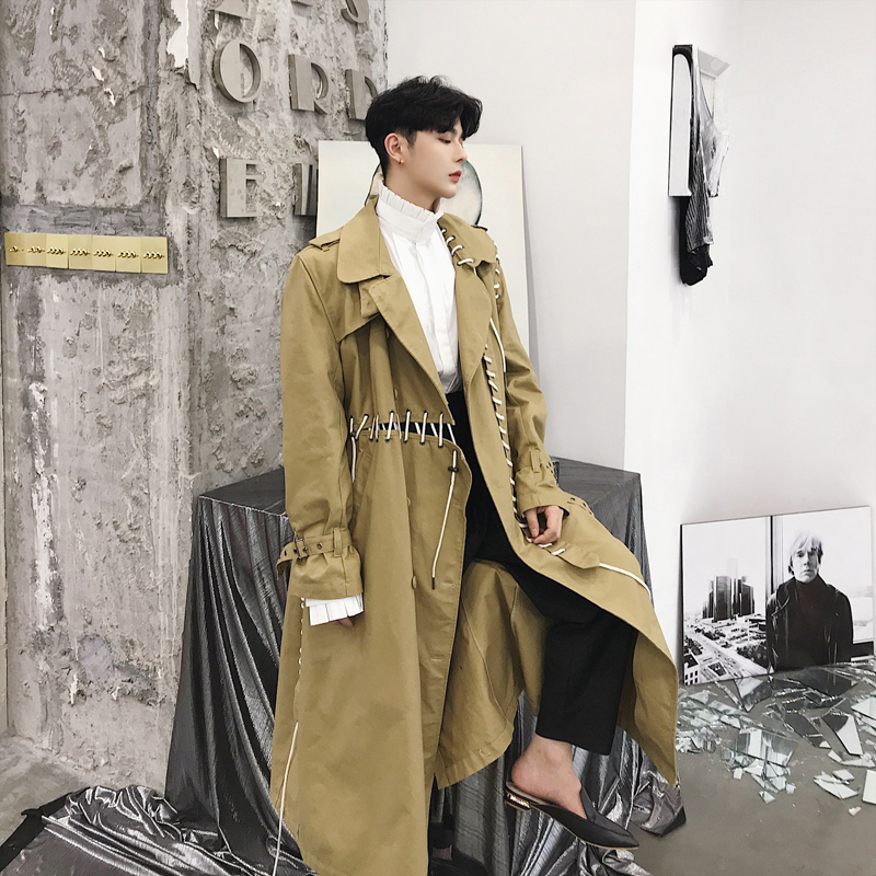 Male Punk Gothic Loose Overcoat Men Casual   Trench   Coat Ribbon Spliced Long Cardigan Windbreaker Jacket Harajuku Outerwear