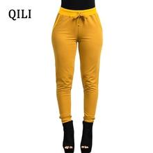 QILI Autumn Women Pencil Pants Trousers High Waist Solid Elastic Full Length Woman Office Work Casual Long