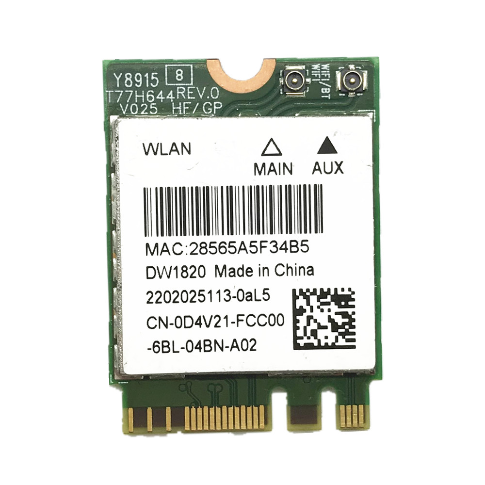 Wireless Adapter Card For Atheros QCNFA344A DW1820 802.11ac Bluetooth 4.1 867Mbps M2 NGFF WiFi Wireless Card