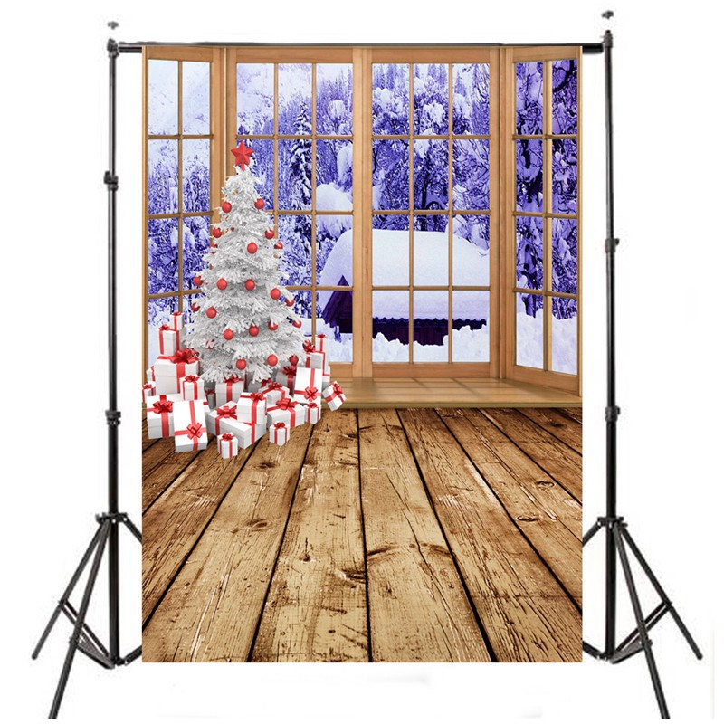 5 x 7ft Christmas Tree Snow Window Studio Backdrop Photography Photo Background 2.1x1.5m Fashion Decoration