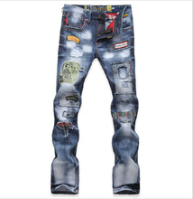 TOP Men's new Printed Jeans blue Classic Mens Fashion Brand High Quality Skinny Patchwork Denim for Jeans man CK-003