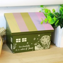 Fashion Wooden storage box house jewelry makeup lovely wooden bookend desktop 12*10.2*8cm free shipping