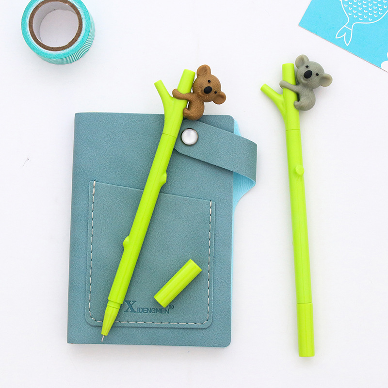 3pcs/Lot Cartoon koala gel pen Green branch pens Black color ink 0.5mm ballpoint Cute Stationery Office School supplies цены