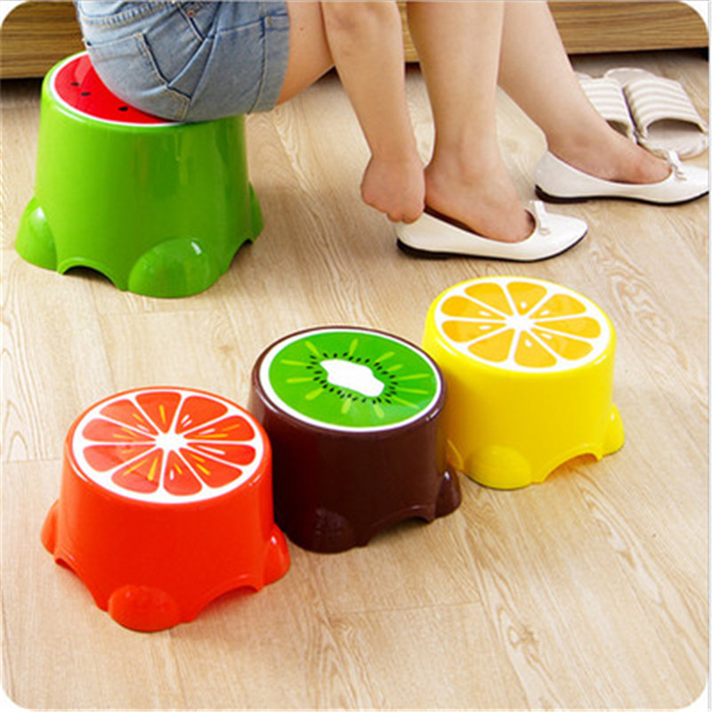 Thickened Plastic Fruit Stool Baby Children's Cute Cartoon Foot Low Children Bedroom Home Chair Kids Seat  S/l Size