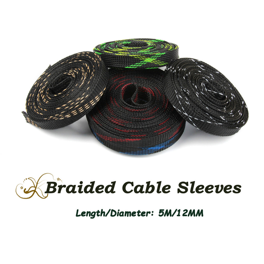 цены 12mm Length 5M Expandable 150% Braided Cable Sleeving 5 Colors Insulation Tight Nylon PET Wire Cable Sleeves Gland Mesh Shock