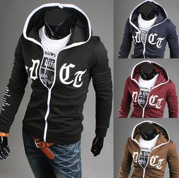 2015 autumn new  men's Korean leisure cotton brocade hit color mosaic hooded comfortable slim coat Blazer Free shipping