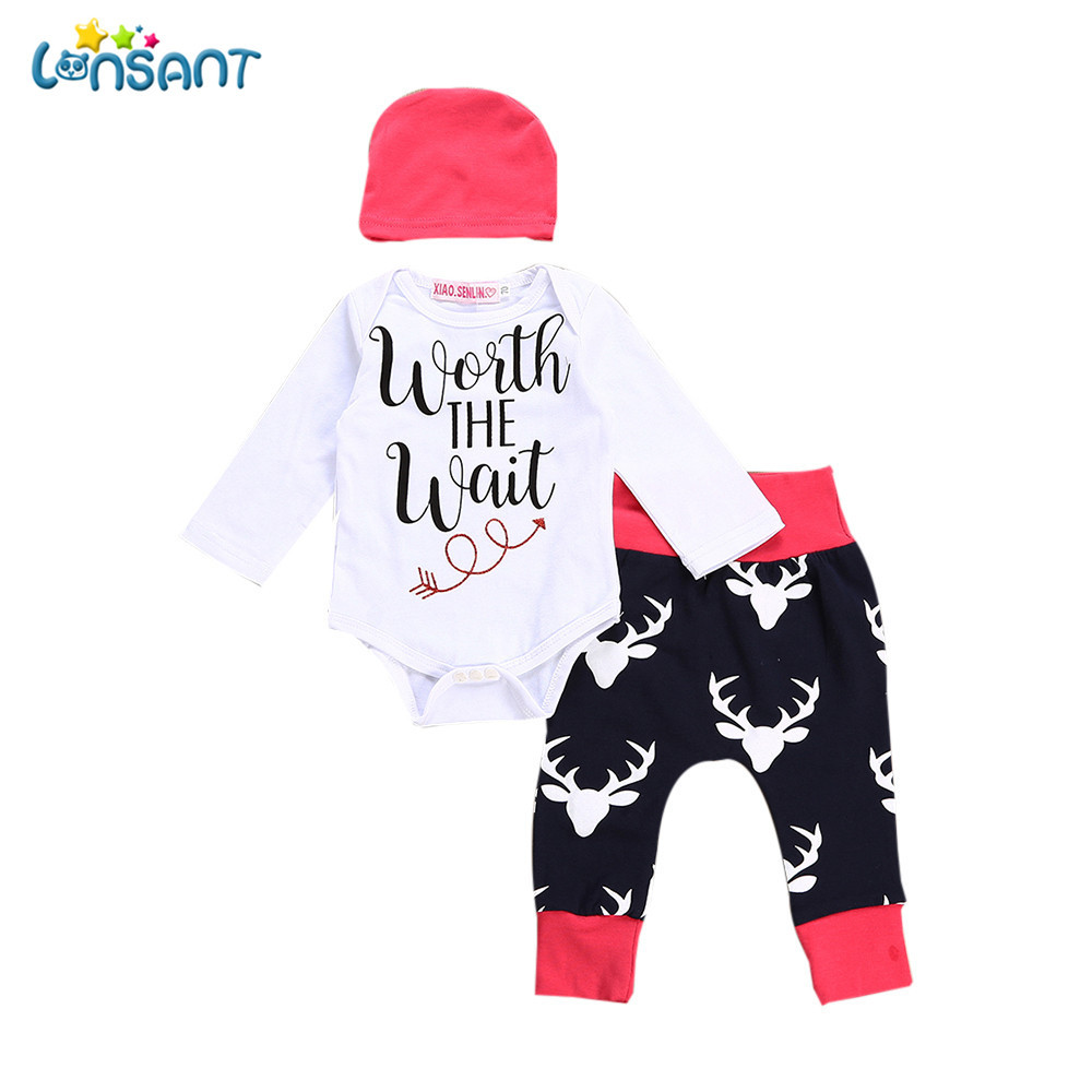 LONSANT Newborn Infant Baby Boy Girl Letter Long Sleeve Romper Tops Deer Pants Outfits Casual Baby Clothes Set