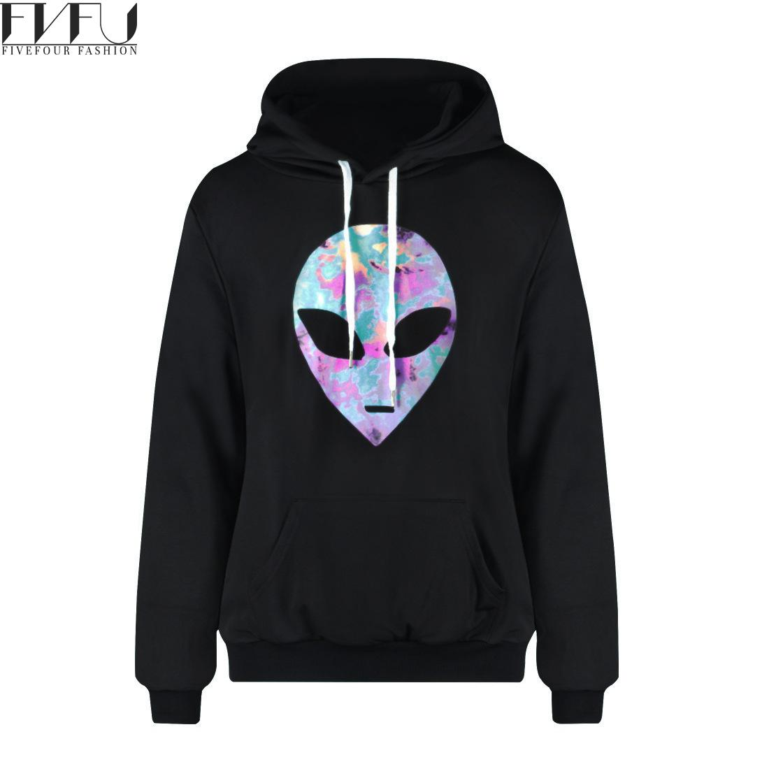 Fashion 2018 Hoodies Sweatshirt Women/men Plus Velvet Alien Print Sweatshirt Hoodie Tops Loose Casual Black Hoodies Plus Size