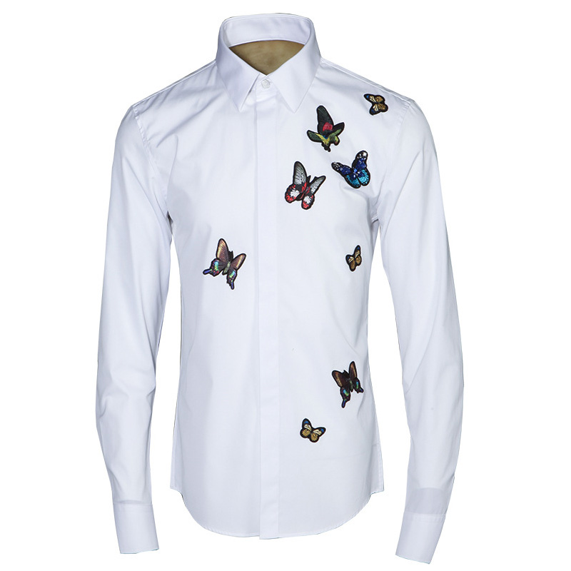 Buy butterfly embroidery men shirt 2017 for Mens dress shirt monogram location