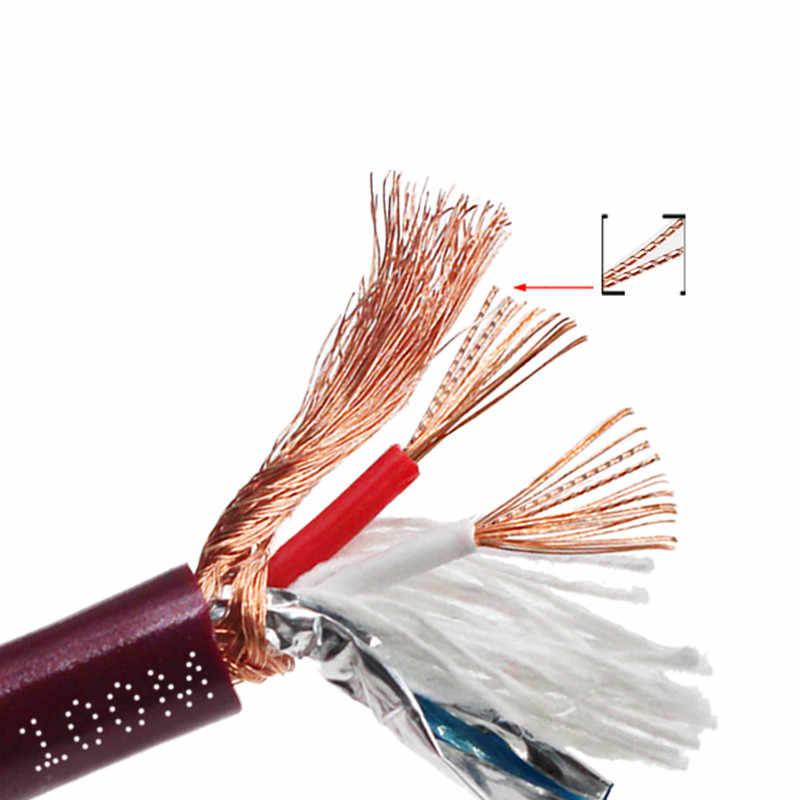 كابل الصوت خط 2 الأساسية النحاس النقي سلك محمي 6 مللي متر aux خط الاتصال RCA 3.5 مللي متر جاك 5DIN pulg ل مكبر للصوت الدوار
