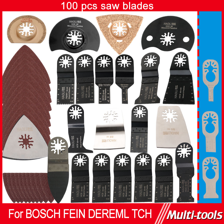 ФОТО 100 pcs Oscillating multi Tool Saw Blades accessories fit for Multimaster tools as Fein,Dremel etc,top quality,cutting metal