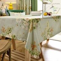 280cm Wide Garden Wildflowers Cotton Linen Blackout Drapery Green Fabric Window Curtains Fabric Tablecloth DIY Craft