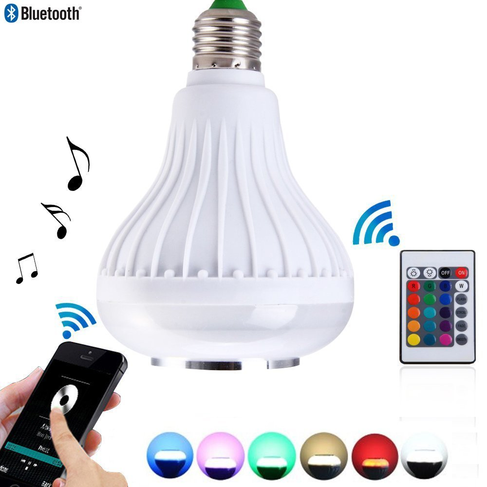 Lumiparty 12W Bluetooth Speaker LED Light Bulb RGBW Changing Lamp with 24 Keys Remote Control