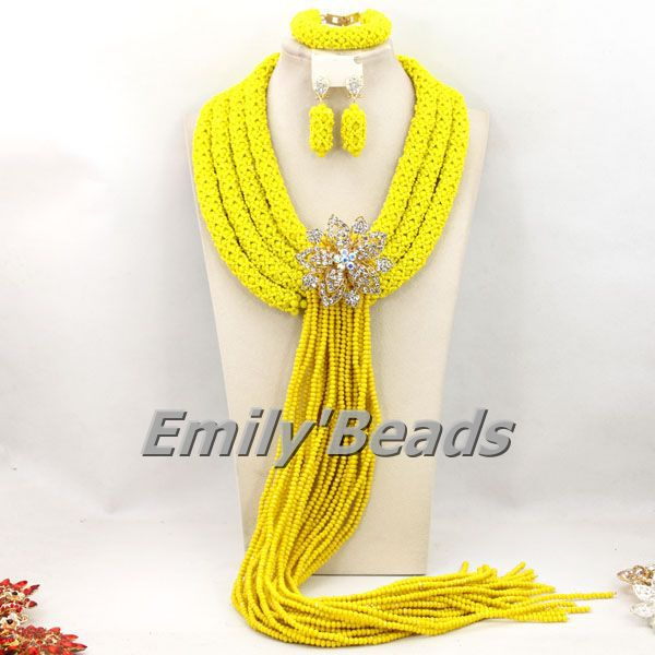 Yellow Nigeria Wedding African Jewelry Sets Fashionable Big Crystal Beads Necklace Bracelet Earrings Jewelry Set AMJ129 wholesale 5 set bohemian layered geometric strand 3 pcs jewelry sets african beads bridal crystal necklace set bracelet earrings