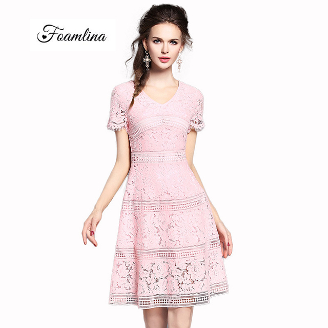 a836f4ed9c7a3 US $39.9 |Elegant Women Pink Lace Dress 2017 New Summer Fashion V neck  Short Sleeve Hollow Out Lace A line Party Dress Vestidos de Fiesta-in  Dresses ...
