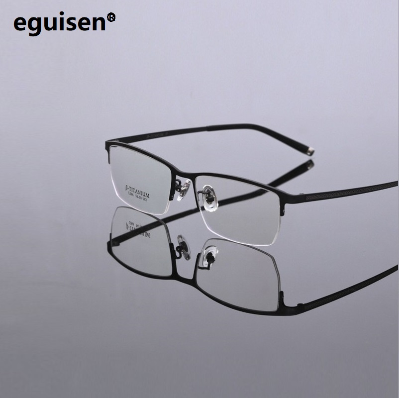 width 142 Super light business pure titanium plate half frame man eteglasses frame myopia glasses male lentes oculos de grau in Men 39 s Eyewear Frames from Apparel Accessories
