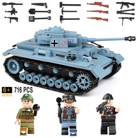 716+pcs Military German King Tiger Tank Building Blocks Compatible Legoed Technic Army Soldier Weapon Bricks Children Gift Toys