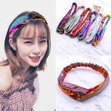 Fashion 1PC gradient cross double color Headbands wash Turban Headwear Headwrap for Women Girls hair accessories