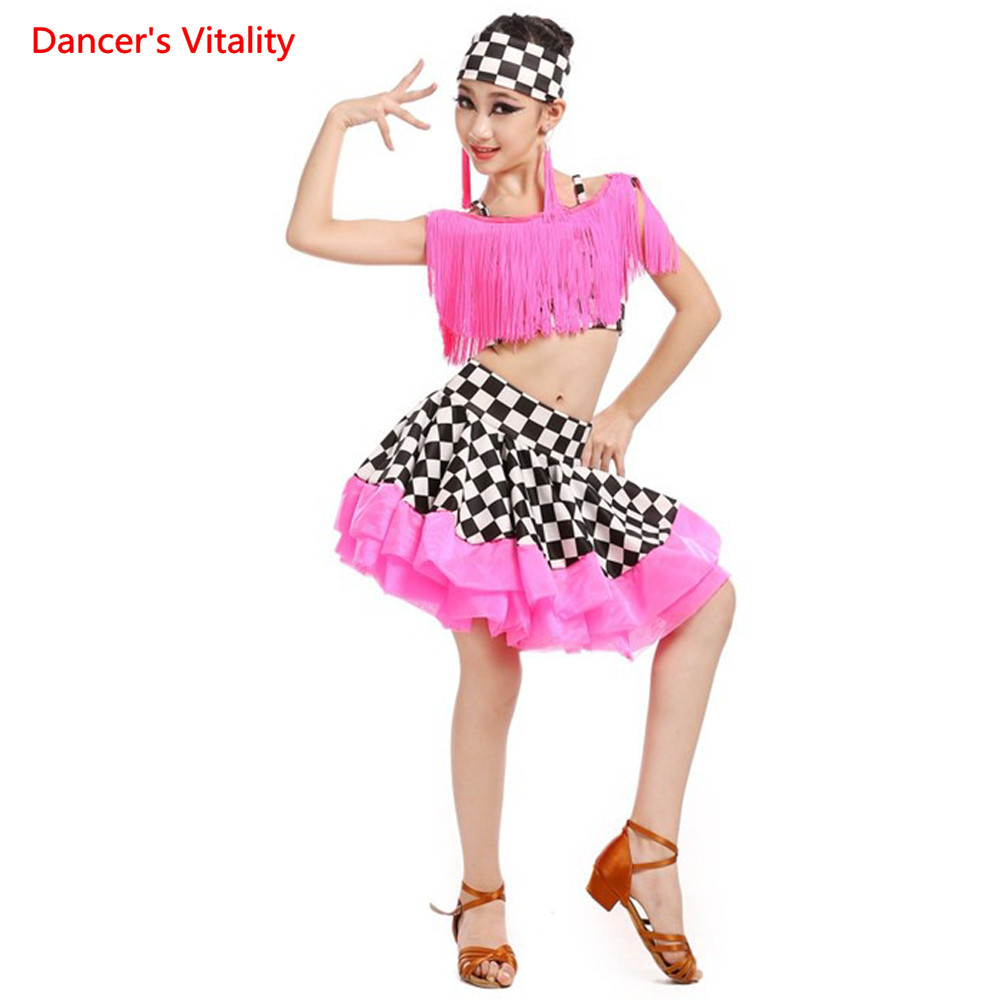 ⑤Nuevo niño adulto Latino traje spandex borla Top + falda 2 unids ...