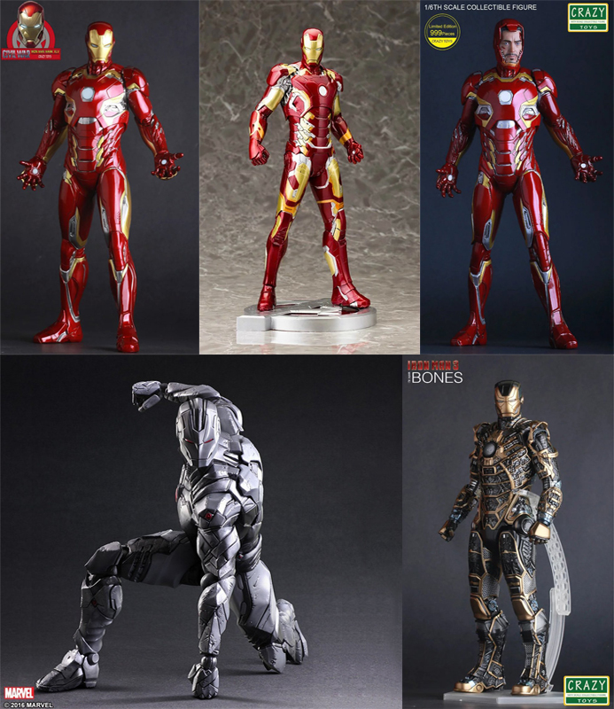 CRAZY TOYS Iron Man Mark MK7 42 43 45 Play arts PLAYARTS KAI FIGURE Superman Deadpool marvel Avengers joker PVC figma Model Toy