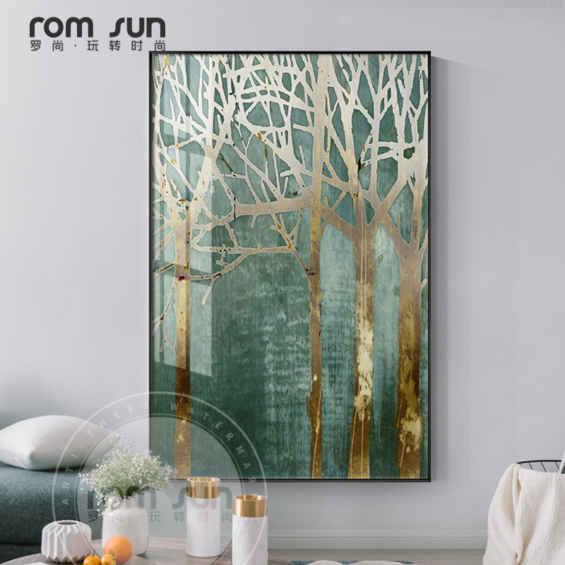 Fashion Gold Tree In Green Forest Canvas Painting Plant Poster Print Wall  Art For Living Room