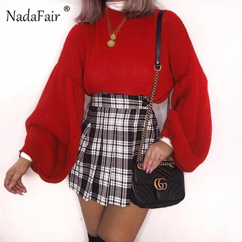 Nadafair long lantern sleeve loose knitted sweater jumpers women 2018 winter casual korean sweater pullovers pull femme hiver