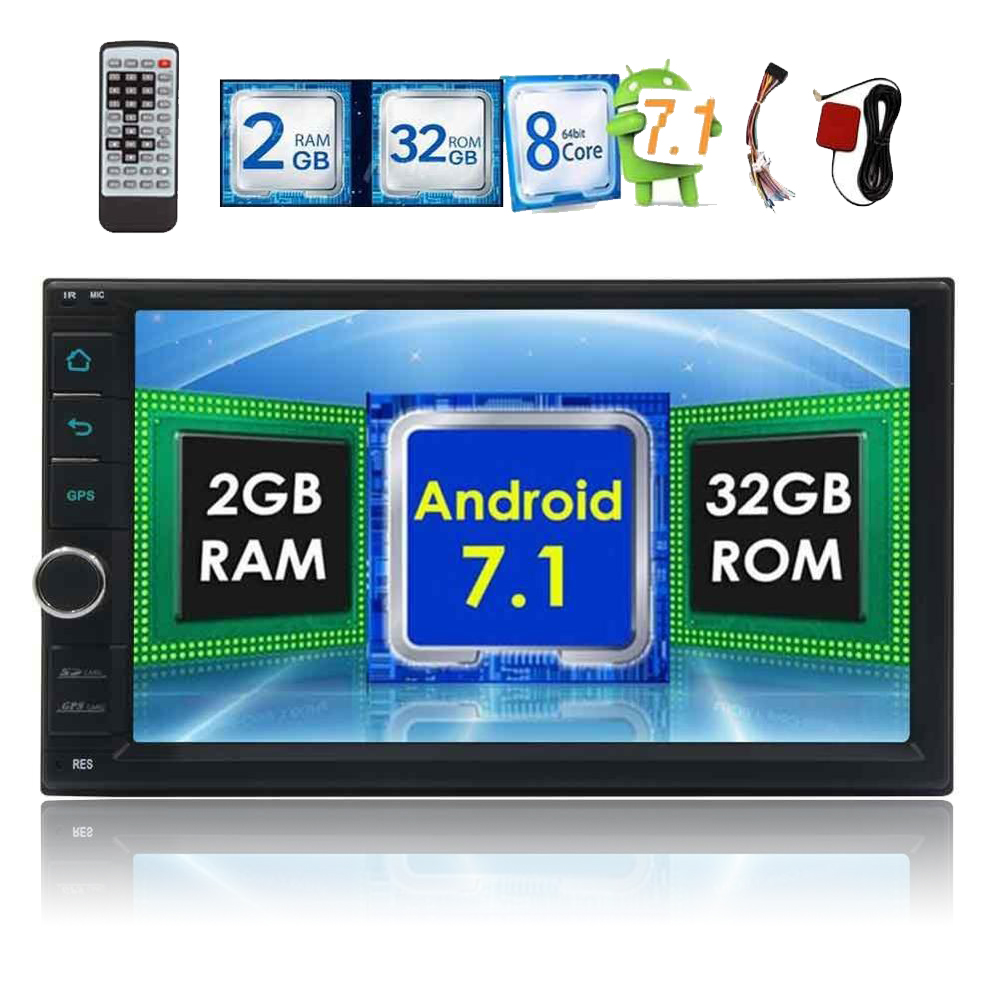 Android 7 1 car auto audio head unit 8 core dual 2 two DIN touch screen