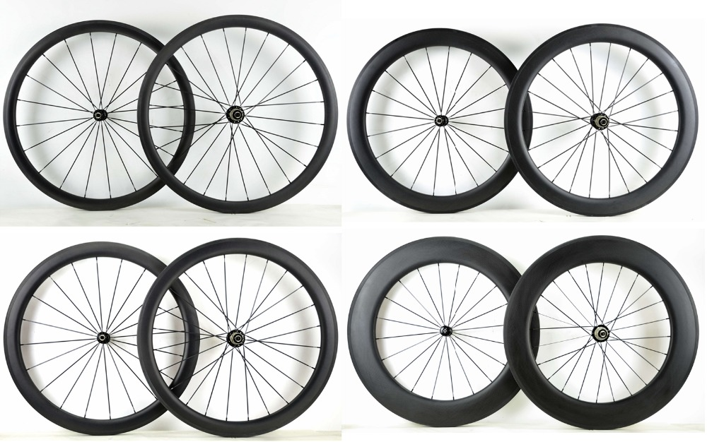 Free shipping 700C 38 50 60 88mm depth Road carbon wheels 25mm width Clincher bicycle carbon