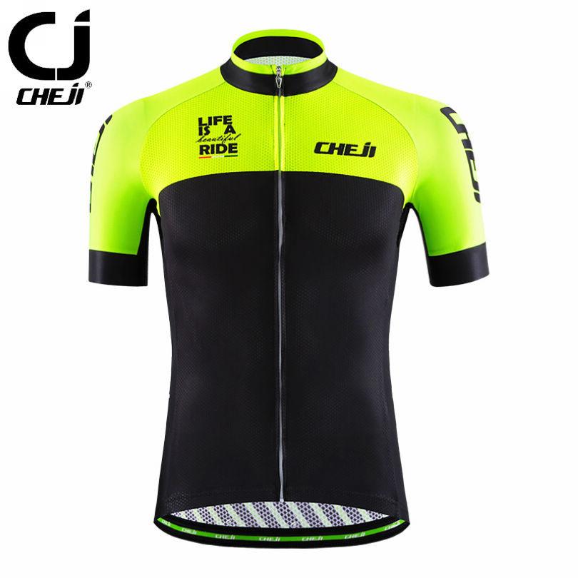 Prix pour 2017 CHEJI Hommes Vélo Cyclisme Jersey Veste D'équitation Pro Équipe Ropa Ciclismo Vélo Équipe Clothing Tops Sportwears Modes