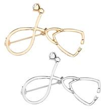Fashion Doctor Nurse Stethoscope Brooch Gold Silver Rhinestone Men And Women Trend Jewelry Gift
